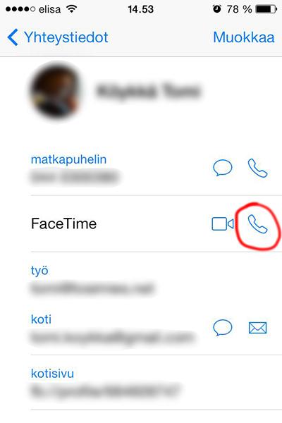 FaceTime äänipuhelu